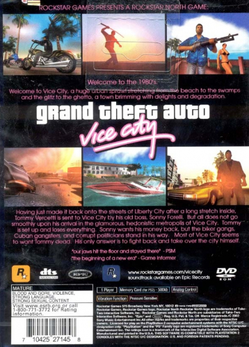 Grand Theft Auto: Vice City Back Boxart