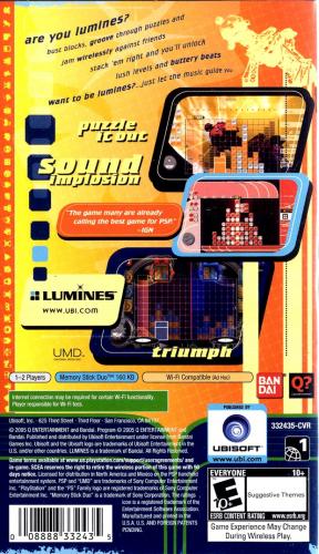Lumines: Puzzle Fusion Back Boxart