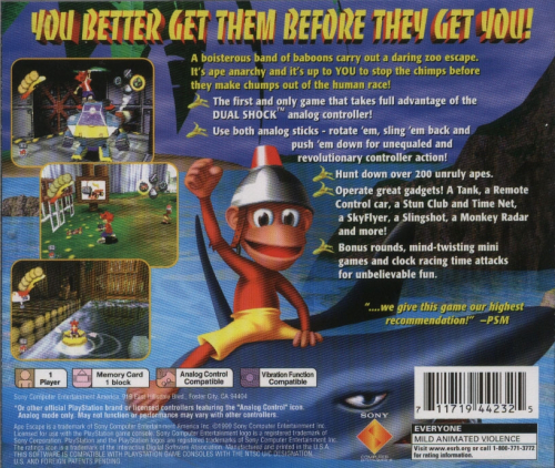 Ape Escape Back Boxart