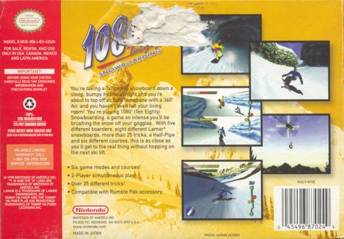 1080° Snowboarding Back Boxart