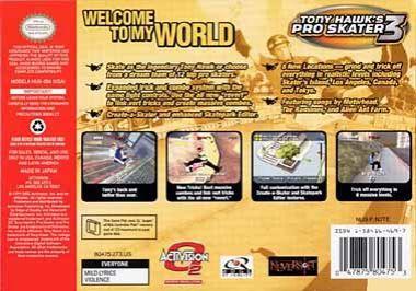 Tony Hawk's Pro Skater 3 Back Boxart