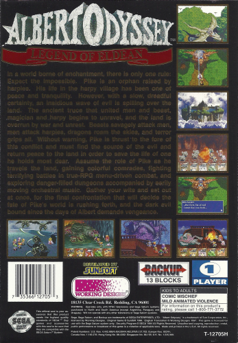 Albert Odyssey: Legend of Eldean Back Boxart