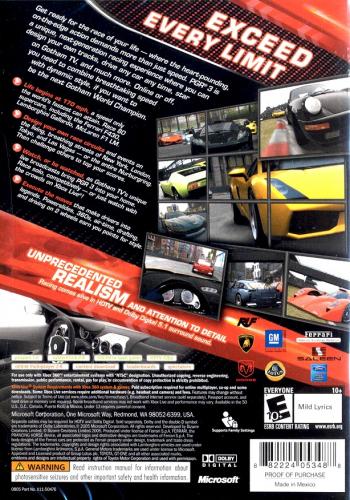 Project Gotham Racing 3 Back Boxart