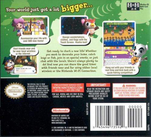 Animal Crossing: Wild World Back Boxart