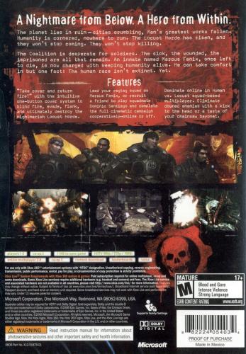 Gears of War Back Boxart