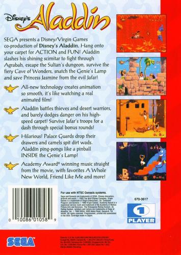 Disney's Aladdin Back Boxart