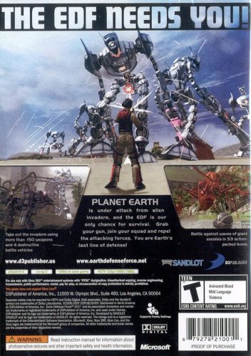 Earth Defence Force 2017 Back Boxart
