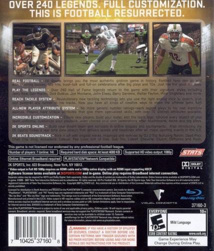 All-Pro Football 2K8 Back Boxart