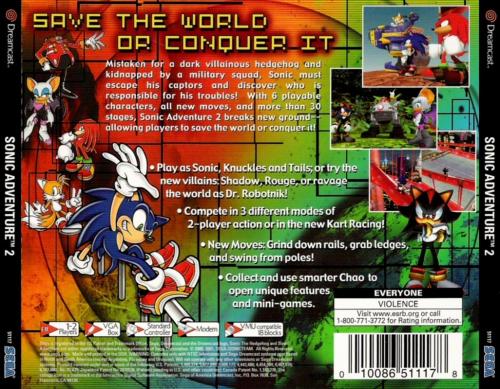 Sonic Adventure 2 Back Boxart