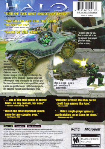 Halo: Combat Evolved (Best of Platinum Hits) Back Boxart