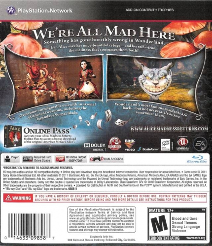 Alice: Madness Returns Back Boxart