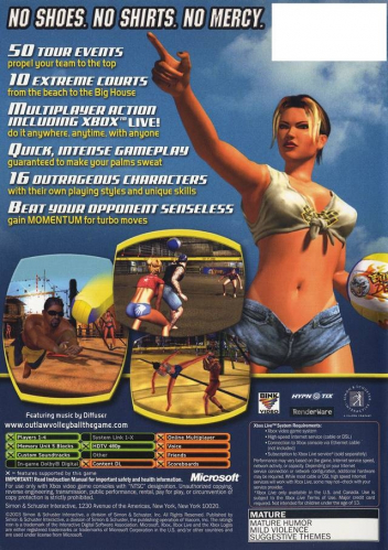 Outlaw Volleyball Back Boxart