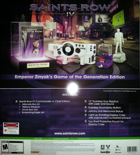 Saints Row IV (Game of the Generation Edition) Back Boxart