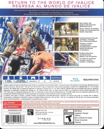 Final Fantasy XII: The Zodiac Age (Limited Steelbook Edition) Back Boxart