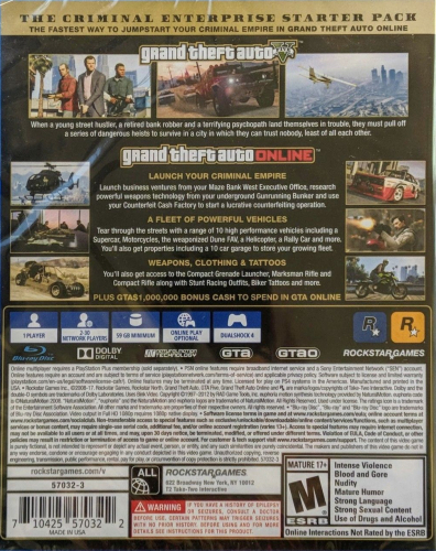 Grand Theft Auto V (Premium Online Edition) Back Boxart