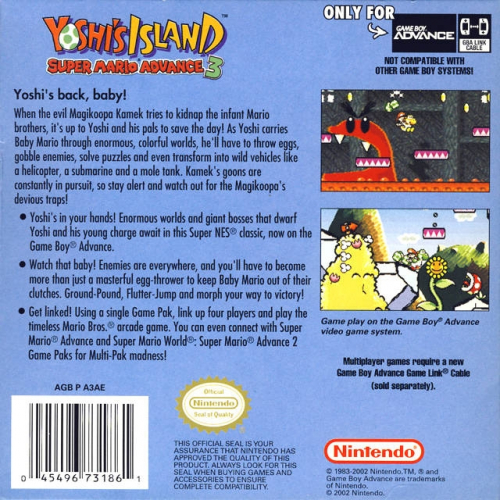 Yoshi's Island: Super Mario Advance 3 Back Boxart
