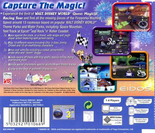 Walt Disney World Quest: Magical Racing Tour Back Boxart