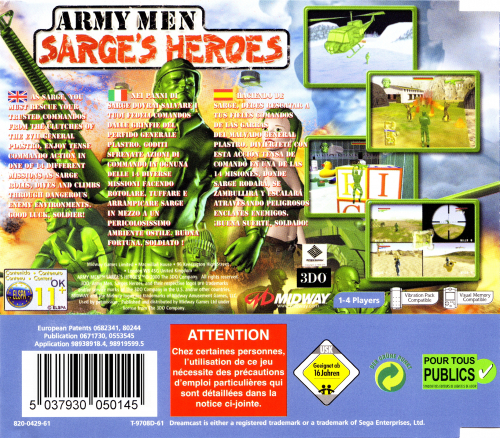 Army Men: Sarge's Heroes Back Boxart