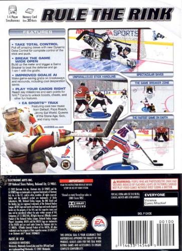 NHL 2003 Back Boxart