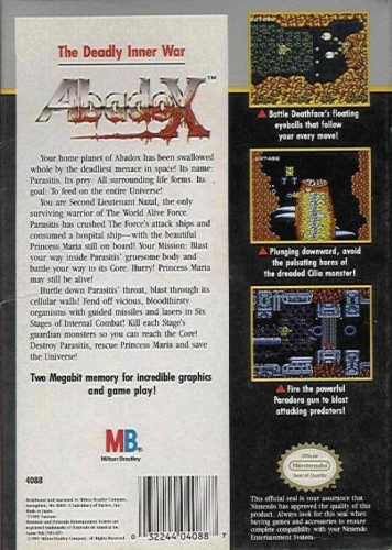Abadox: The Deadly Inner War Back Boxart